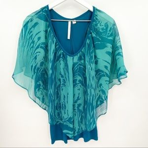 LC Lauren Conrad Teal Blue Layered Top